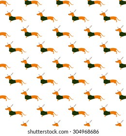 Seamless pattern with cute dachshund wearing Christmas suit, green jersey decorated with red stripes and brown reindeer horns arranged in staggered rows and isolated on white background