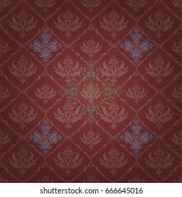 Seamless pattern with cute damask ornament. Seamless vector red and green ornament in arabian style. Pattern for wallpapers, backgrounds, flyers or wrapping paper.