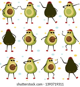 Seamless pattern with cute dancing avocados. Vector illustration