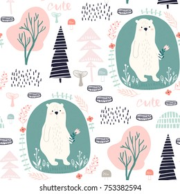 Seamless pattern with cute dear, trees, forest elements. Creative woodland height detailed background. Perfect for kids apparel,fabric, textile, nursery decoration,wrapping paper.Vector Illustration