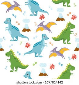 Seamless pattern with cute dinos. Cute dinosaurs isolated on white background. Kids illustration. Funny cartoon dino and prehistoric elements.