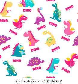 Seamless pattern. Cute dinosaurs