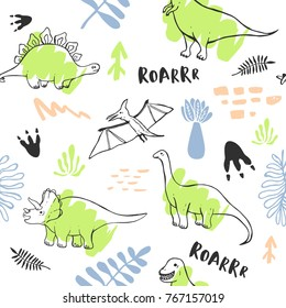 Seamless pattern with cute dinosaurs for children textile , wallpaper , posters and other design