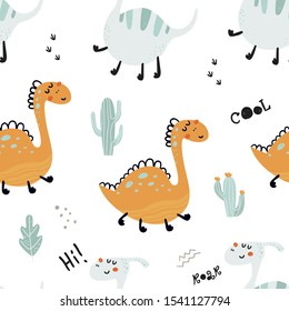 Seamless pattern with cute dinosaurs. Vector illustration for kids, nursery, card, birthday party, clothing, textiles, wallpaper