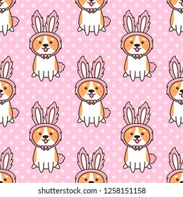 Seamless pattern with cute dog breed welsh corgi in a hat bunny ears, on a pink background with white dots. It can be used for packaging, wrapping paper, textile and etc.