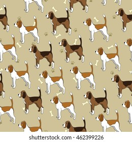 Seamless pattern with cute dog. Breed beagle. Can be used for wallpaper, pattern fills, greeting cards, webpage backgrounds, wrapping paper and textile or fabric. Vector illustration.