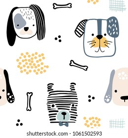 Seamless pattern with cute dog faces and hand drawn elements. Creative childish texture. Great for fabric, textile Vector Illustration
