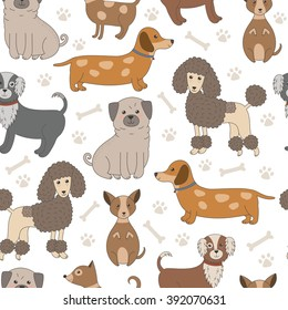 Seamless pattern with cute dogs. Vector texture with funny cartoon characters