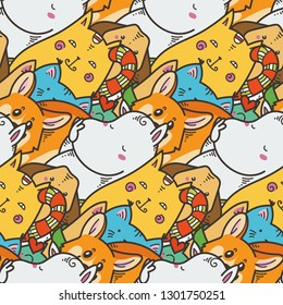 Seamless pattern with cute domestic animals. Kawaii doodle pets. Vector endless illustration