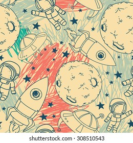 seamless pattern with cute doodle astronauts, planets, rockets and stars on scribble background, retro style, vector illustration