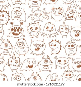 Seamless pattern with cute doodle monsters. Can be used for wallpaper, pattern fills, textile, web page background, surface textures