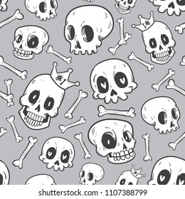 seamless pattern cute doodle skull collection