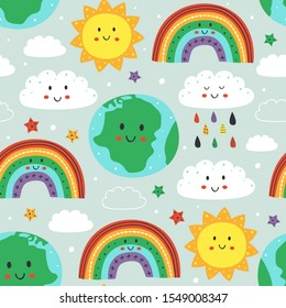 seamless pattern with cute Earth,cloud, rainbow and sun - vector illustration, eps