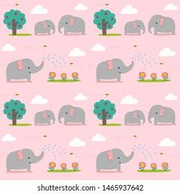 Seamless pattern cute elephan watering a flower.