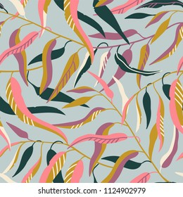 Seamless pattern with cute Eucalyptus tree branches with green and pink leaves on the grey background. Vector natural elegant illustration, rustic luxury fabric design.