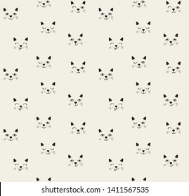 Seamless pattern with cute faces of cats