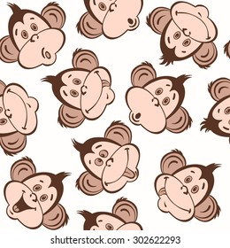 Seamless pattern with cute faces of monkeys. Kids  background.