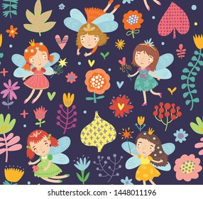 Seamless pattern with cute fairies