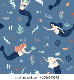 Seamless pattern with cute fairy mermaids, fish and plants on a blue background. Illustration for your design.