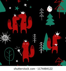 Seamless pattern with cute fairytale fox in the forest on a black background.