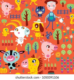 Seamless pattern with cute farm animals and farmer on an orange background. Childish vector illustration.