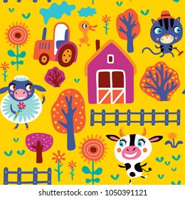 Seamless pattern with cute farm animals on a yellow background. Childish vector illustration.