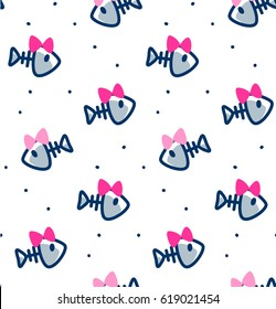 Seamless pattern, Cute fishbone wearing bow headband vector.