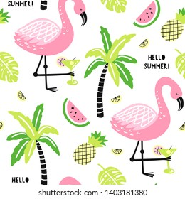 Seamless pattern with cute flamingo, palm, watermelon, pineapple. Hello summer.Creative vector childish background for fabric, textile