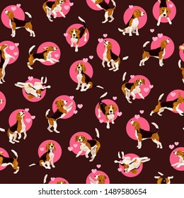Seamless pattern with cute flat beagle puppy in various poses and action. Bright vector background with plaing funny dogs on brown and pink