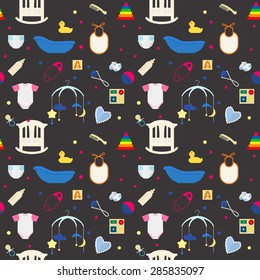 Seamless pattern with cute flat icons of baby toys and items on dark gray background.