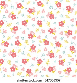 Seamless pattern with cute flowers and branches. Charming design in pastel shades for labels, tags, tissue and wrapping paper. Vector illustration.