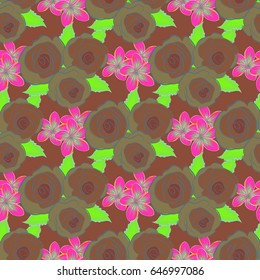 Seamless pattern with cute flowers in green and brown colors. Spring vintage floral background. Beautiful vector texture.