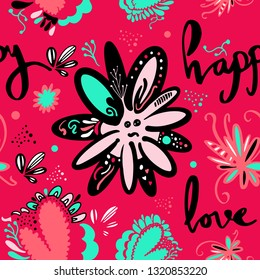 Seamless pattern with cute flowers. Vector illustration for kids. Use for print design, surface design, fashion kids wear