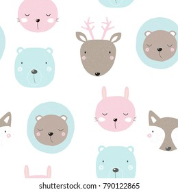 Seamless pattern with cute forest animals. Vector hand drawn illustration.