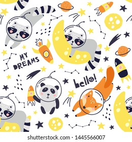 Seamless pattern with cute fox astronaut, raccoon, panda, planets, stars and comets. Space Background for Kids. Animals in outer space Vector illustrations