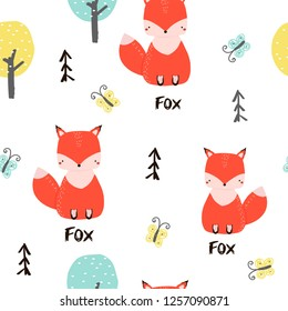 Seamless pattern with cute fox and butterfly in the magic forest. Vector hand drawn illustration.