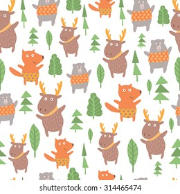 Seamless pattern with cute fox, deer, bear. Lovely forest background with cute animals in bright colors in vector.