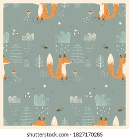 Seamless pattern with cute fox in forest. Hand drawn vector illustration.