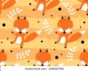 Seamless pattern with cute fox princess in crown. Creative childish texture. Great for fabric, textile Vector Illustration. Perfect for wallpaper, pattern fill, web page background, surface textures