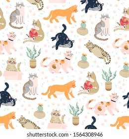 Seamless pattern with cute funny cats different breed isolated on pink background sitting, laying, hiding in box. Flat cartoon style. Vector illustration. For packaging paper, banner, textile etc.