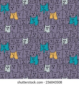 Seamless pattern with cute funny cats in cartoon style. Vector illustration.