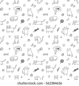 Seamless pattern with cute and funny cats. Vector EPS10.