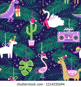 Seamless pattern with cute funny Christmas ornaments in bright cartoon style