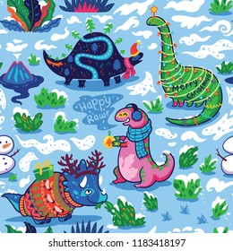Seamless pattern with cute funny holiday dinosaurs in sweaters, hats and scarves. Characters winter dinosaurs with garland, gifts