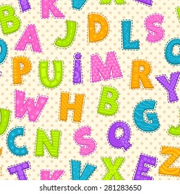 Seamless pattern with cute funny letters, vector endless illustration