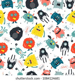Seamless pattern with cute funny monsters. Kids backgroud for posters, textile,wallpapers in kids room