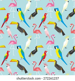 Seamless pattern with cute geometric parrots 2