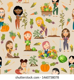 Seamless pattern. Cute girls harvesting vegetables and cereals. Harvest cabbage, potatoes, carrots, beets, pumpkins, corn and wheat. People doing farming job. Vector illustration