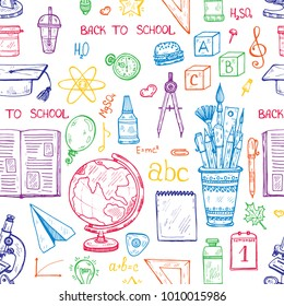 Seamless pattern with cute hand drawn educational tools including pencils; pens; eraser; globe; brush; and others. Vector hand drawn back to school collection