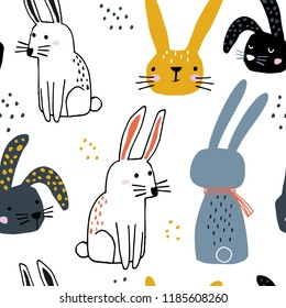 Seamless pattern with cute hand drawn bunnies. Creative childish background. Perfect for kids apparel,fabric, textile, nursery decoration,wrapping paper.Vector Illustration